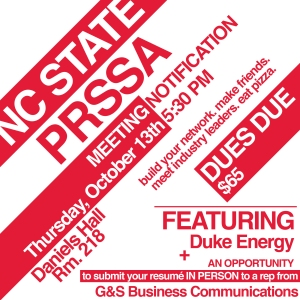 NC State PRSSA October 13, 2016 meeting